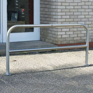 Hooped Perimeter Barrier (60mm Dia) - Horizontal Rail - Concrete In OR Bolt Down OR Removable
