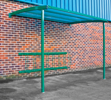 Bike Shelter Wall Mounted - Includes Sheffield Loops for 6 Bikes