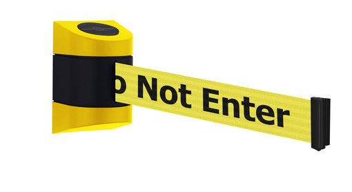 Tensabarrier® Maxi Wall Mounted Retractable Barrier with 7.7m or 9m Safety Message Webbing - Standard Wall Clip Provided.