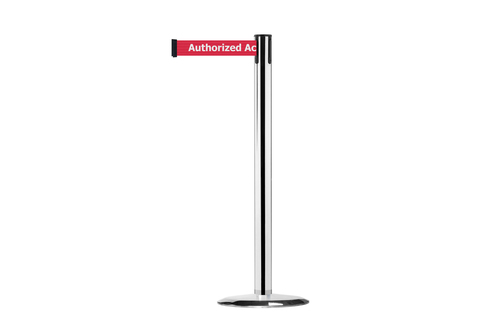 Tensabarrier® Advance retractable barrier post with 2.3m safety message webbing