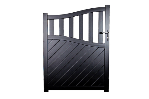 Side Gate & Pedestrian gate in Aluminium with mixed diagonal infill & Bell curved top - Maintenance free - Choice of colours and dimensions