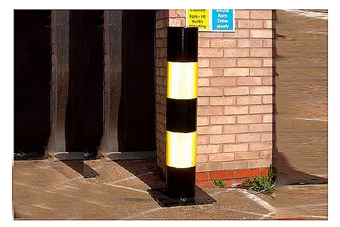 Bollards Impact Protection (76-219mm DIA) 1000mm above ground - Hi Viz Mild Steel
