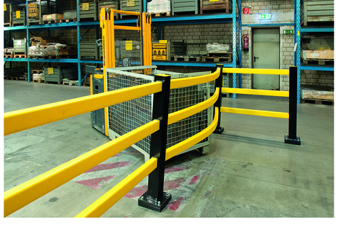 Guard railing system  for indoor/outdoor impact manufactured from  Polypropylene (PP) that makes it resistant to impact stresses.