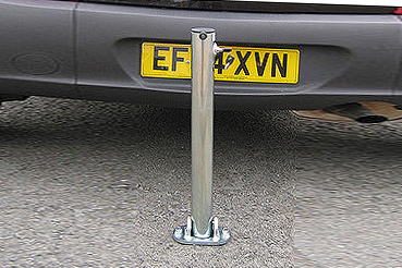 Parking Post -Hinged , Sturdy-Integral Lock.Bolt down or Concrete in - BRITISH MADE