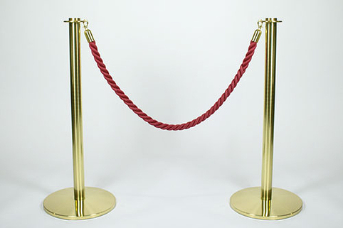 Tensabarrier® Post Pair (No rope) in Satin Brass Effect Finish- Premium Contemporary (only 1 pair remaining)
