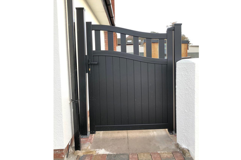 Side Gate & Pedestrian gate in Aluminium with mixed infill & Bell curved top - Maintenance free - Choice of colours and dimension