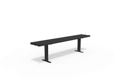 Benches in Black power coated Steel with choice of wood slats