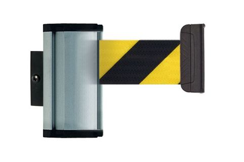 Silver Wall Mount Stretch Belt Barrier - Beltrac Premium L - 3.7m Belt inc receptacle