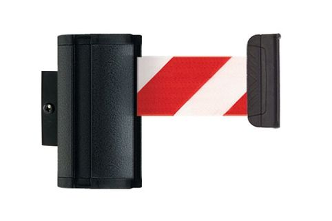 Black Wall Mount Stretch Belt Barrier - Beltrac Premium L - 3.7m belt inc receptacle
